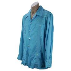 1970s Lilly Pulitzer Mens Teal Guayabera Shirt, Long Sleeves, Sz XL, Chest 52