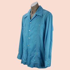 1970s Lilly Pulitzer Mens Teal Guayabera Shirt, Long Sleeves, Sz XL, Chest 52