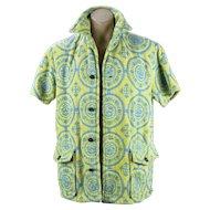 1950s Mens Cotton Terry Cloth Beach Shirt, Made in Brazil, Size Medium, Chest 44