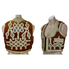 Bohemian Indian Vest, Rust Velvet and Gold Embellished Waistcoat, Handmade in Pakistan
