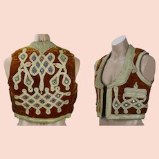 Bohemian Indian Vest, Rust Velvet and Gold Embellished Waistcoat, Handmade in Pakistan