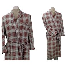 Vintage Beacon Camp Blanket Robe, Red and Cream Plaid Wrap Robe, Unisex, B48