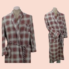Vintage Beacon Camp Blanket Robe, Red and Cream Plaid Wrap Robe, Unisex, B48