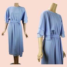 Don Wolf Couture Formal Dress, Soft Blue Crepe Demur 1980s Dress, Sz S- M