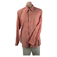 Hudson Bay Outdoor Mens Shirt, Red Gingham, Red Checked, Size XL 17 1/2