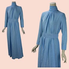 1970s Blue Lame Evening Gown, Full Flowing w/ Long Sleeves and High Neck, Vtg Size 10, B42