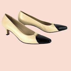 Salvatore Ferragamo Shoes, 90s Heels in Tan Calfskin, Sz 8 1/2 AA