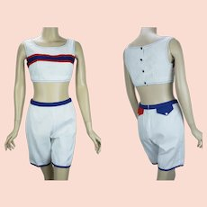 Vintage Two Piece 70s Playsuit, Red, White and Blue, Crop Top w/ Hip Hugger Shorts by Jantzen, Size 13 Junior, B36 W27