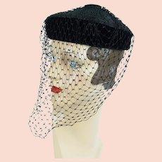 1950s Vintage Hat, Black Straw and Velvet Veiled Pillbox