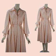 1970s Vintage Mollie Parnis Dress, Tangerine Shirtwaist w/ Full Skirt, Pockets, Mollie Parnis Boutique, B35 W26
