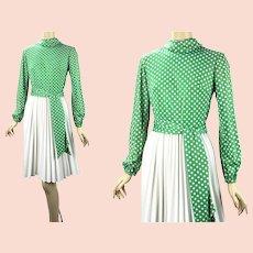 1960s Vintage Bleeker Street Dress, NOS, New Old Stock, Kelly Green Polka Dot w/ Full Knife Pleated Skirt, Tags, Sz 14, B38 W30