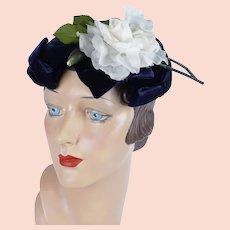 1950s Vintage Hat, Navy Blue Velvet Bow Hat w/ White Silk Rose