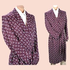 1950s Vintage Mans Robe, Dressing Gown, Maroon and Blue Patterned Rayon Wrap Robe, Size Large, Chest 48