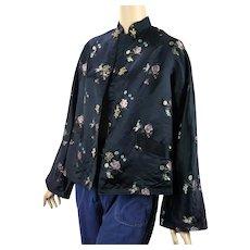Vintage Oriental Jacket, Black Satin Embroidered B40