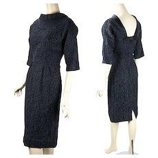 1960s Vintage Cocktail Dress, Black Lace Form Fitting Party Dress, B40 W27