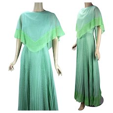 80s Vintage Formal Gown, Miss Elliette Full Length Evening Gown, Mint Green Polka Dot w/ Crystal Pleated Skirt, Sz 10, B37 W27