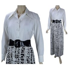1970s Vintage Lanvin Maxi Dress, Black and White Abstract Minimalist Dress, Sz 12, B38 W29