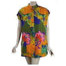 1970s Floral Hawaiian Tunic Top, Waltah Clark, B42, Sz L