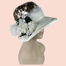 Vintage Capeline Wide Brim Hat, Taupe and Ivory w/ Flowers, The Adams' Millinery, Sz 22 1/2