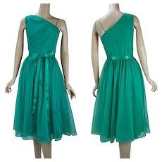 1960s Vintage Kelly Green Chiffon One Shoulder Full Skirt Nightgown, Vanity Fair, Sz 32, B34 W28