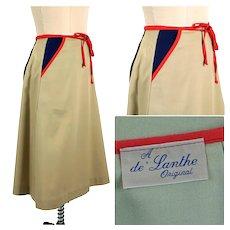 Vintage 1970s Preppy Khaki Wraparound Skirt, de Lanthe Original, Sz 8
