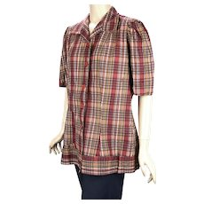 1950s Red Plaid Tunic Top, Blouse, Size Large, B42
