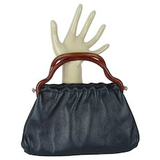 Vintage Black Leather Handbag w/ Faux Bakelite Handles