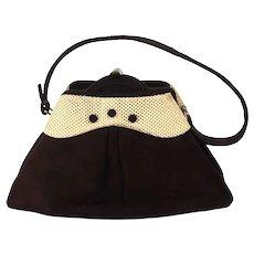 1950s Vintage Manon Handbag, Dark Brown Suede Box Purse