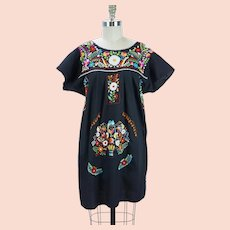 Embroidered Mexican Dress, Black Cotton Oaxacon Dress, Colorful Embroidered Florals, Sz M, B42 W44