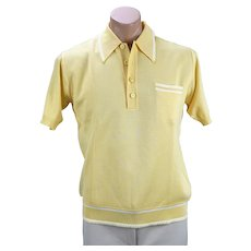 Vintage Bright Yellow Italian Sweater, Banlon Stretch with White Top Stitching, Made in Italy, Sz M, C42