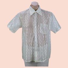Vintage Man's White Lace Sheer Shirt C48