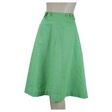Vintage 1970s Preppy Lime Green Wraparound Skirt w/ Pockets by Point of View, Sz 6