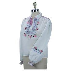 Vintage 70s Hand Embroidered Sheer Peasant Blouse, Sz 40, B38