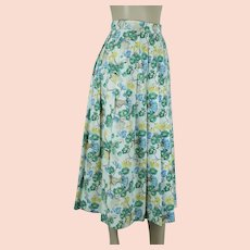Vintage 1990s Geiger Pleated Skirt w/ Pockets, Cotton and Linen Blue Green Pastel Floral, Made in Austria, Sz 36, W26