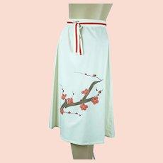 1970s Vintage Wraparound Skirt w/ Applique, Dogwood Design, Sz Small