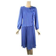1970s Vintage Sky Blue Crystal Pleated Dress by Darcy Sz 9/10, B38