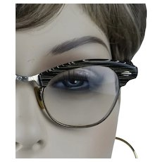 1950s Vintage Eyewear Black and White Stripe 12 KGF Midcentury Browline Eyeglasses by Artcraft