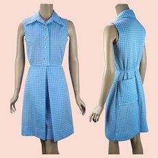 1970s Vintage Sky Blue Gingham Dress by David Crystal w/ Pockets, Sz S, B34