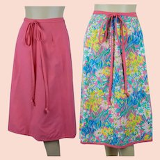 1980s Vintage Reversible Wrap Skirt in Pink and Pink Florals, Sz Small