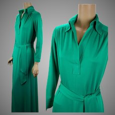 1980s Vintage Evening Gown, Bright Kelly Green Slinky Formal by Matti of Lynne, Sz 12, B36