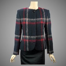 80s Vintage Mohair Jacket by Herbert Grossman, Black and Red, Sz 6
