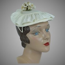 1960s Vintage Hat, Ivory Pleated Ruffle Hat w/ Floral Bouquet