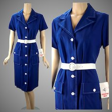 1980s Vintage Dress, Blue and White Button Front Casual Dress by Country Miss, NWT, Sz 14, B36