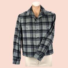 1960s Vintage Blue Grey Wool Plaid Waist Jacket, Chest 44, Size M