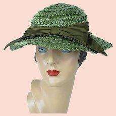 Forest Green Wide Brim Straw Hat, Wavy Brim Wide Weave Summer Hat, Betmar Wide Brim Hat, Sz 21 1/2