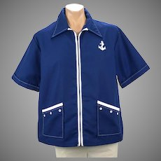 1970s Mans Catalina Navy Blue and White Beach Jacket, Size XL