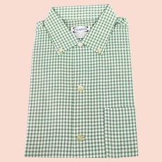 1970s Vintage NOS Pilgrim Green Gingham Mens Shirt, NWT Sears Roebuck, Sz Medium, 15 1/2
