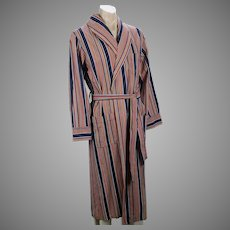 Vintage NOS Mens Striped Multi-Color Robe / Dressing Gown, New with Tags, Nite Kraft Sz Small, C44