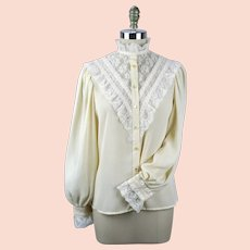 1970s Ivory Blouse w/ Sheer Lace and Balloon Sleeves, Notations, Size 10, B40