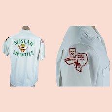 Vintage Moslah Mounties Texas Shriners Shirt w/ Badges, King Louie Strike Ten Shirt, Sz M
